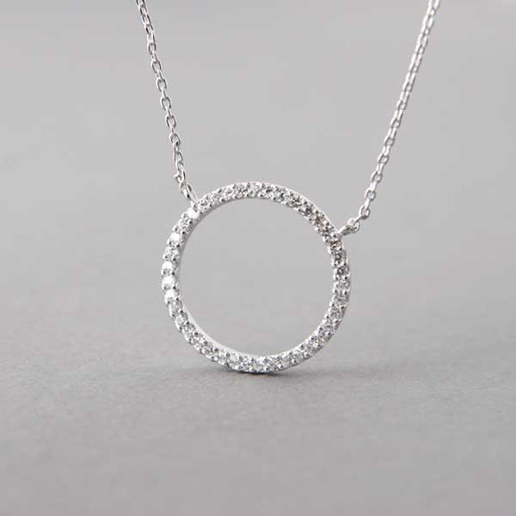 Swarovski white gold outline circle necklace sterling silver swarovski white gold outline circle necklace sterling silver kellinsilver aloadofball Images