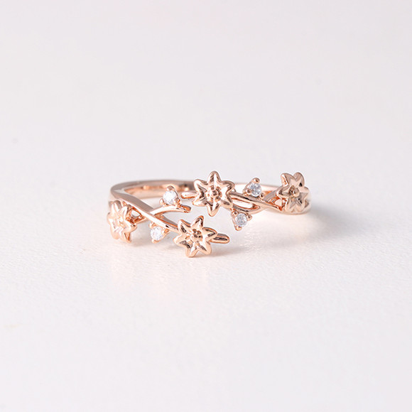 Cz Blossom Wrap Around Ring Rose Gold Kellinsilver Com