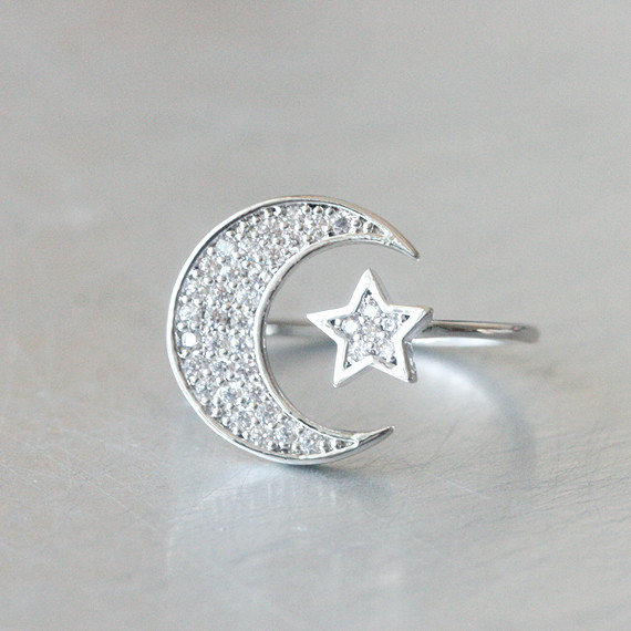 Swarovski Crescent Moon And Star Ring White Gold