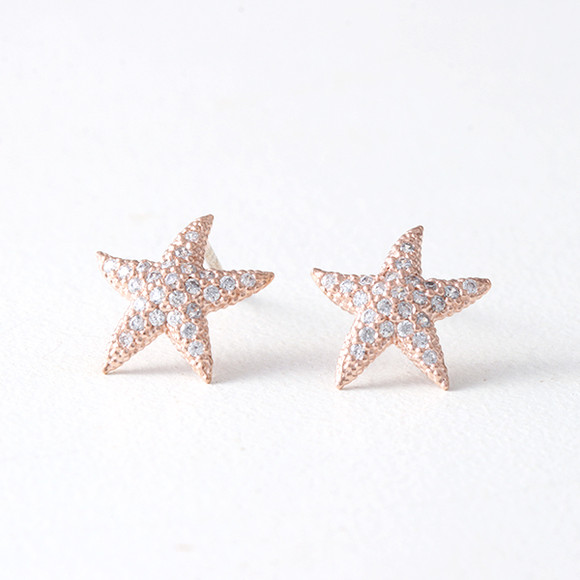 Swarovski Rose Gold Starfish Earrings Studs Kellinsilver Com