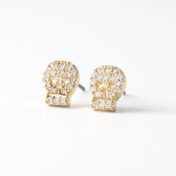 Swarovski Gold Small Skull Stud Earrings Kellinsilver Com