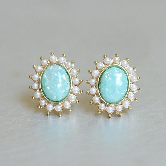 Small Oval Mint Opal Studs Gold Kellinsilver Com