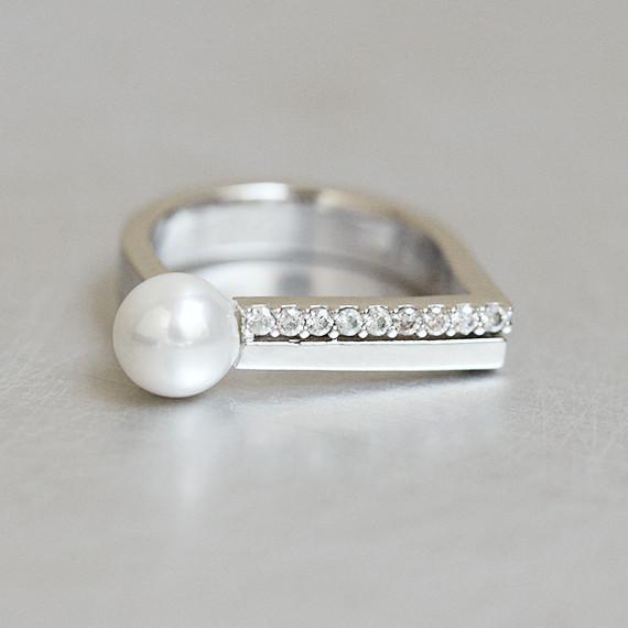 Cz Pearl D Ring Sterling Silver Kellinsilver Com