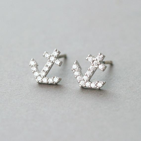 Swarovski Micro Pave Tiny Anchor Stud Earrings White Gold