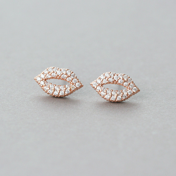 Micro Pave Swarovski Kiss Me Lip Stud Earrings Rose Gold
