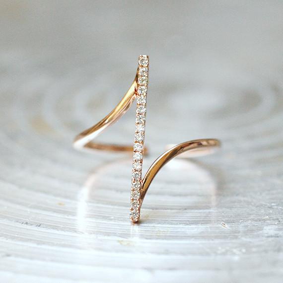 Pave Rose Gold Vertical Bar Ring Sterling Silver Kellinsilver Com