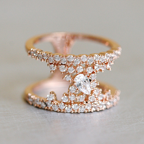 Pave Tear Drop Rose Gold Phantom Double Ring Sterling