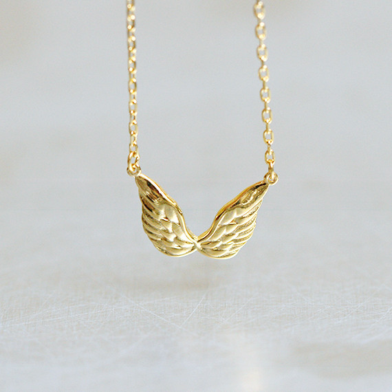 Gold Elegant Angel Wing Necklace Sterling Silver