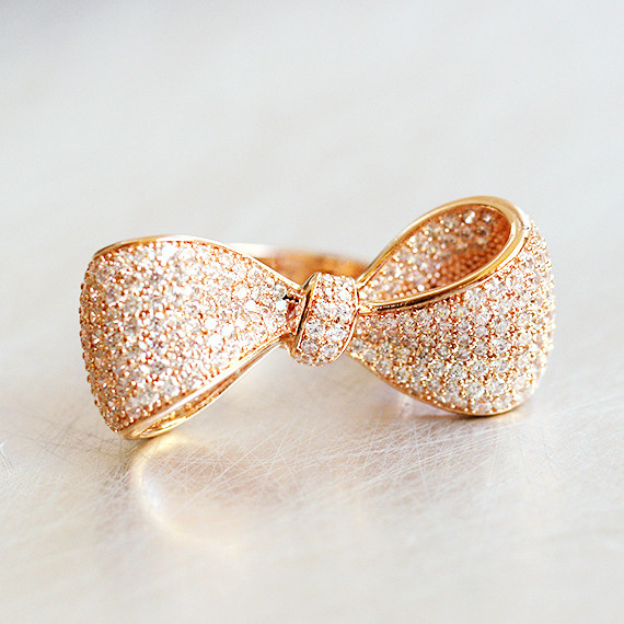 Pave Rose Gold Oversize Wedding Bow Ring Sterling Silver