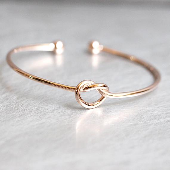 Rose Gold Heart Knot Bracelet Cuff Sterling Silver