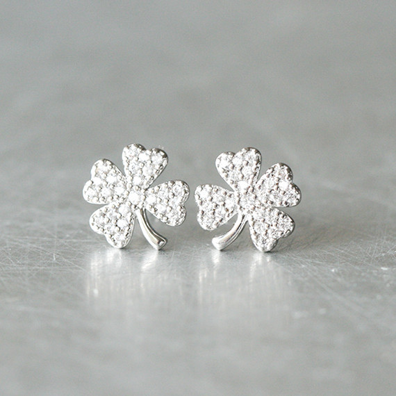 White Gold Cz Four Leaf Clover Earrings Sterling Silver