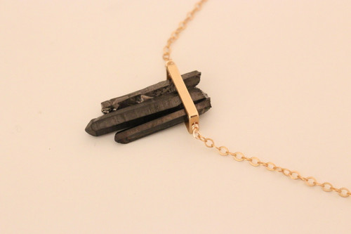 Gunmetal Quartz Triplet Necklace