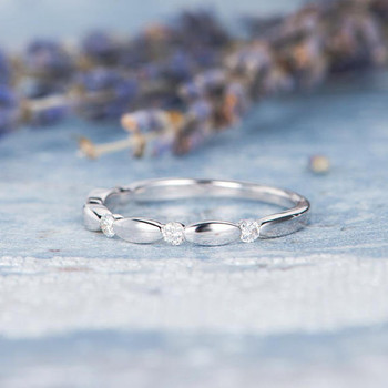 14K White Gold Half Eternity Diamond Wedding Band