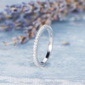14K White Gold Diamond Wedding Band Stacking Full Eternity Ring