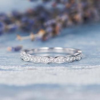 White Gold Women Diamond Band Half Eternity Promise Ring