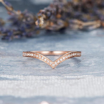 Rose Gold Wedding Band Women V Shaped Diamond Ring