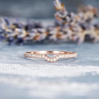 Thin Dainty Half Halo Curved Diamond Wedding Bridal Ring