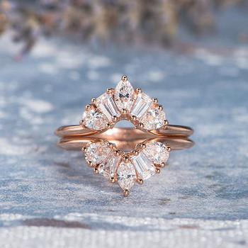Marquise Tapered  Pear Shaped Diamond  Wedding Ring Set