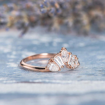 Unique Rose Gold  Band Pear Shaped Tapered Baguette Diamond Wedding Band
