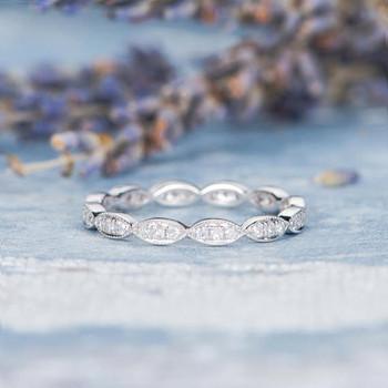 Antique Wedding Band White Gold Diamond Promise Ring