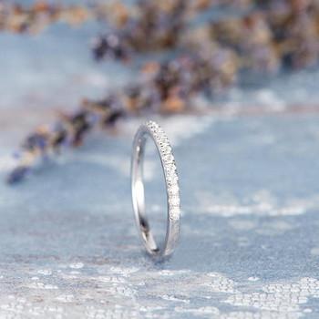 Half Eternity Diamond White Gold  Wedding Band