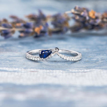 Unique Pear Shaped Sapphire Ring Diamond Wedding Band