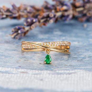 Unique Trinity Ring  Pear Shaped Emerald Diamond Wedding Ring