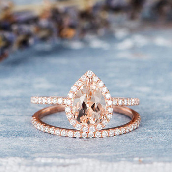6*8mm Pear Shaped Morganite Wedding Bridal Set
