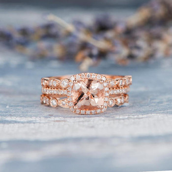 7mm Cushion Cut Halo Morganite Ring Engagement Ring Set