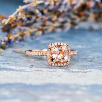 7mm Cushion Cut Bridal Wedding Morganite Ring