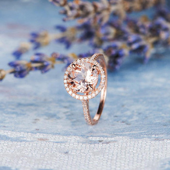 8mm Round Morganite Engagement Ring Diamond Halo Ring