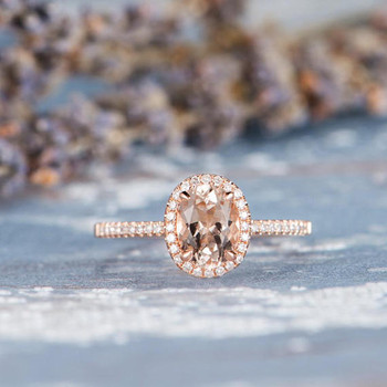 6*8mm Oval Cut Halo Rose Gold Morganite Wedding Ring