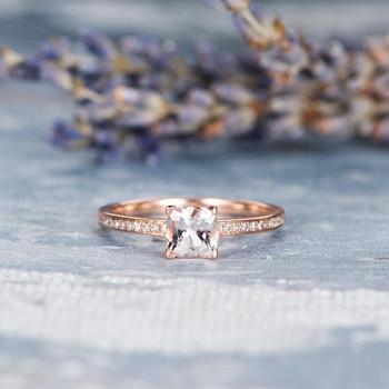Mini Engagement Ring 5mm Cushion Cut  Morganite Ring