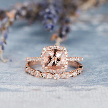 7mm Cushion Cut Morganite Engagement Ring