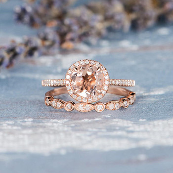 7mm Round Morganite Rose Gold Wedding Ring Set