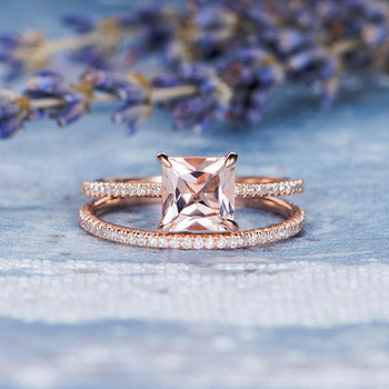 7mm Princess Cut Engagement Morganite Bridal Set