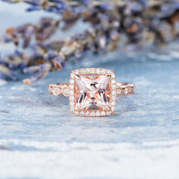 7mm Princess Cut Engagement Ring Morganite Ring