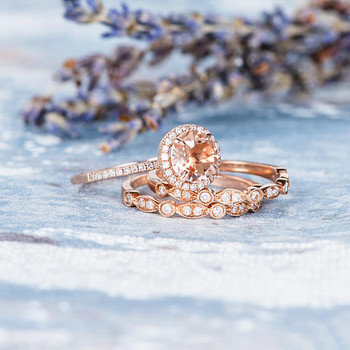 7mm Round Peachy Morganite Engagement Ring Wedding Band Set