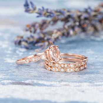 Morganite Ring 6*8mm Oval Cut Rose Gold Wedding Ring Set