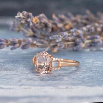 Bridal Ring 7*9mm Oval Cut Morganite Engagement Ring