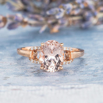 Bridal Ring 7*9mm Oval Cut Morganite Engagement Ring