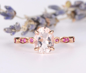 6*8mm Oval Morganite Ring Deco Antique Band Wedding Ring