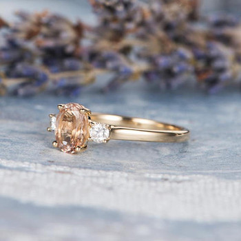 6*8mm Oval Morganite Engagement Ring Gold 3mm Moissanite Ring