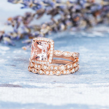 Art Deco 7mm Princess Cut Morganite Wedding ring set