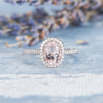 6*8mm Oval Cut Pink Morganite Ring Engagement Ring
