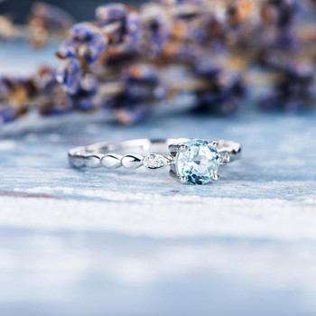 Leaf Eternity Band 5mm Round Aquamarine Engagement Ring