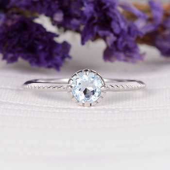 6mm Round Cut Solitaire Bridal Ring Aquamarine Wedding Ring