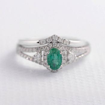 Emerald Ring Set 4*6mm Oval Cut Anniversary Ring