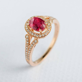 5*7mm Oval Cut Ruby Ring Diamond Engagement Ring
