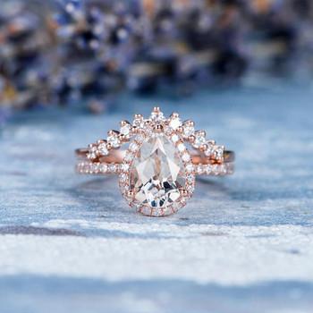 Unique 6*8mm Pear Shaped White Topaz Engagement Ring Set